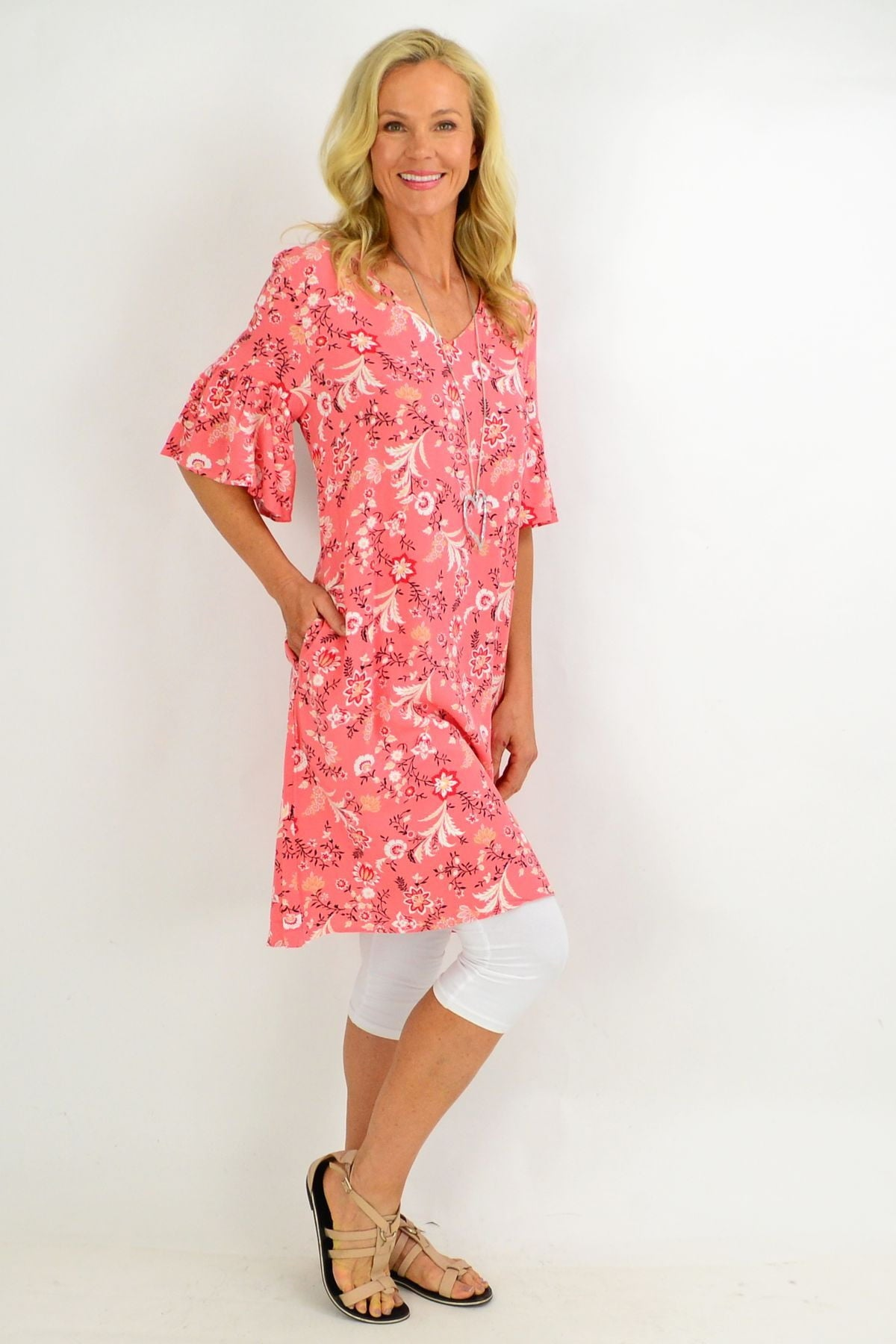 Pink Pretty Fluted Cuff Floral Tunic Dress