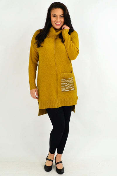 Mustard Winter Woolly Knit Tunic Jumper