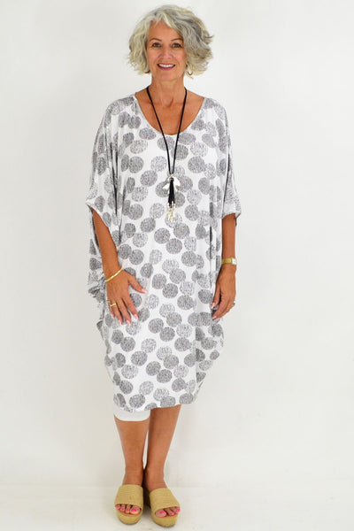 White Black Spot Relaxed Tunic Dress