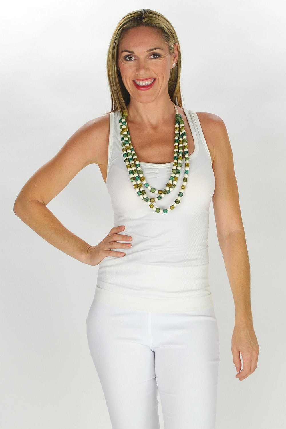 Square Round Beads Necklace - at I Love Tunics @ www.ilovetunics.com = Number One! Tunics Destination