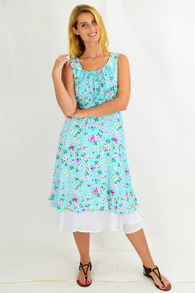 Mint Cherry Blossom Tunic Dress