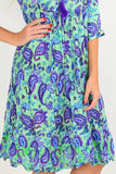 Purple Paisley Tie Neck Tunic Dress