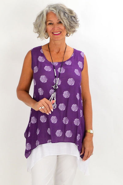 Purple Spot Overlay Tunic | I Love Tunics | Tunic Tops | Tunic | Tunic Dresses  | womens clothing online