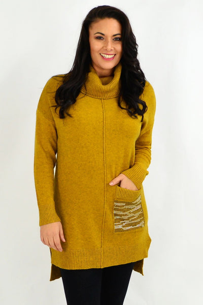 Mustard Winter Woolly Knit Tunic Jumper | I Love Tunics | Tunic Tops | Tunic | Tunic Dresses  | womens clothing online