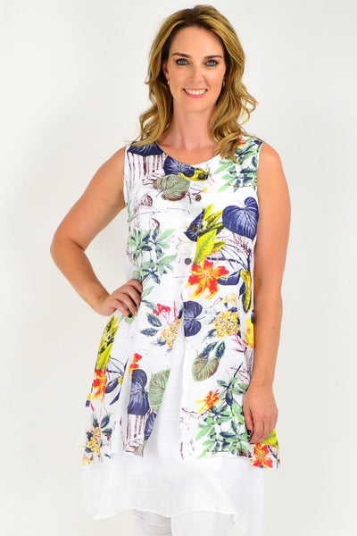 Tropical Garden Sleeveless Cotton Linen Tunic Dress
