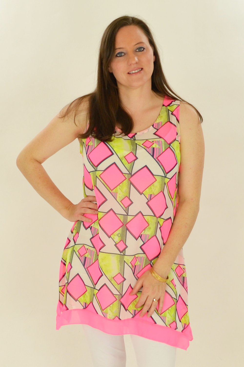 Pink Squares Pattern Tunic | I Love Tunics | Tunic Tops | Tunic | Tunic Dresses  | womens clothing online