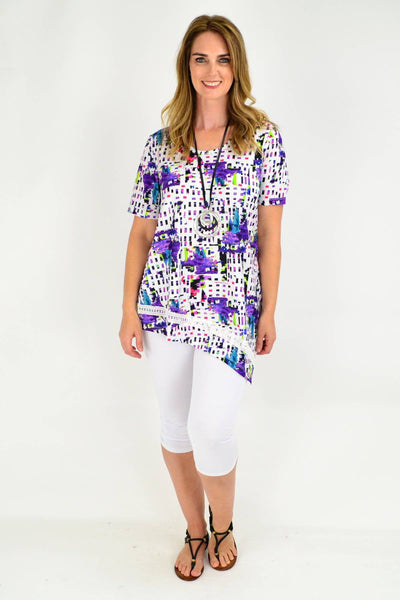 Purple Square Print Asymmetrical Tunic Blouse