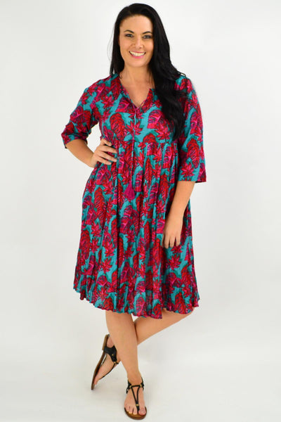 Red Aqua Floral Tie Neck Tunic Dress