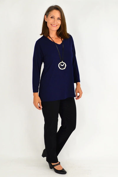 Simple Elegant Navy Tunic Top