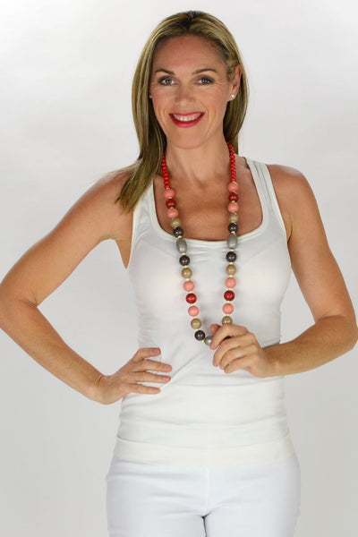 Pink Red Round Beads Necklace