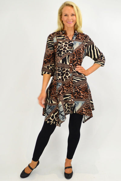 Animal Print Stand Collar Long Shirt