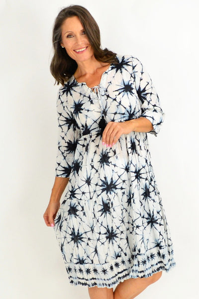 Black White Starburst Tunic Dress