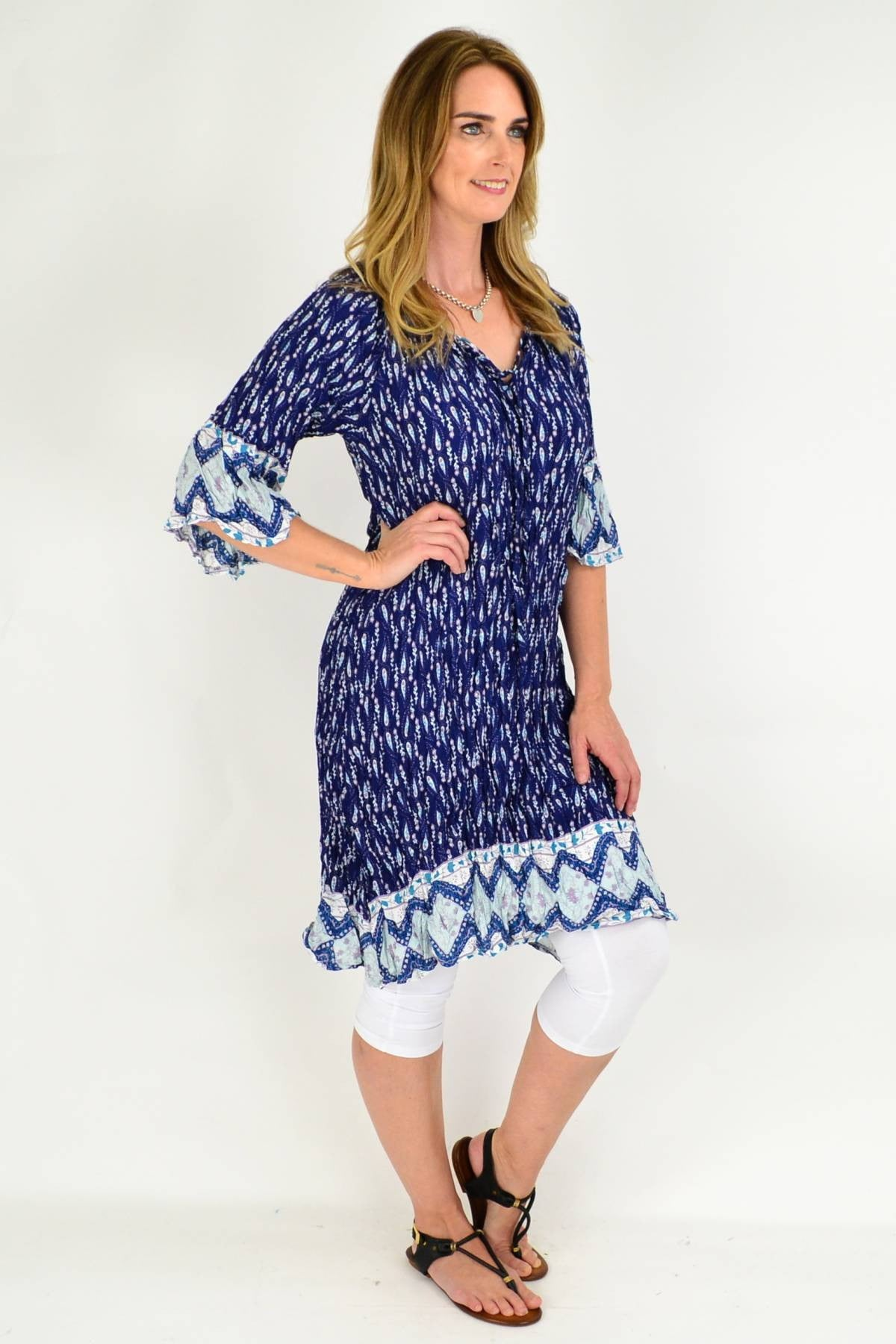 Navy Paisley Flower Crinkle Tie Tunic Dress