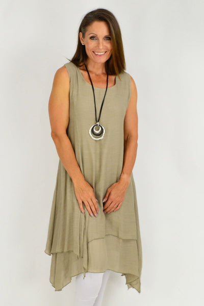 Taupe Long Double Layered Linen Cotton Tunic Dress | I Love Tunics | Tunic Tops | Tunic | Tunic Dresses  | womens clothing online