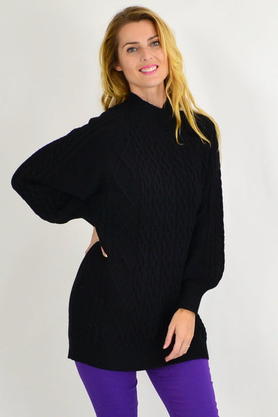 Black Cable Knit Woolly Tunic Jumper - I Love Tunics