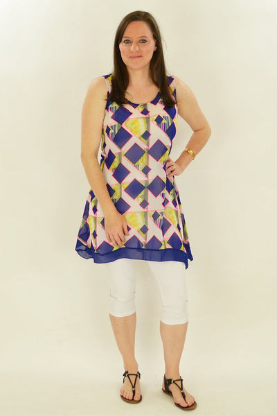 Blue Squares Pattern Tunic