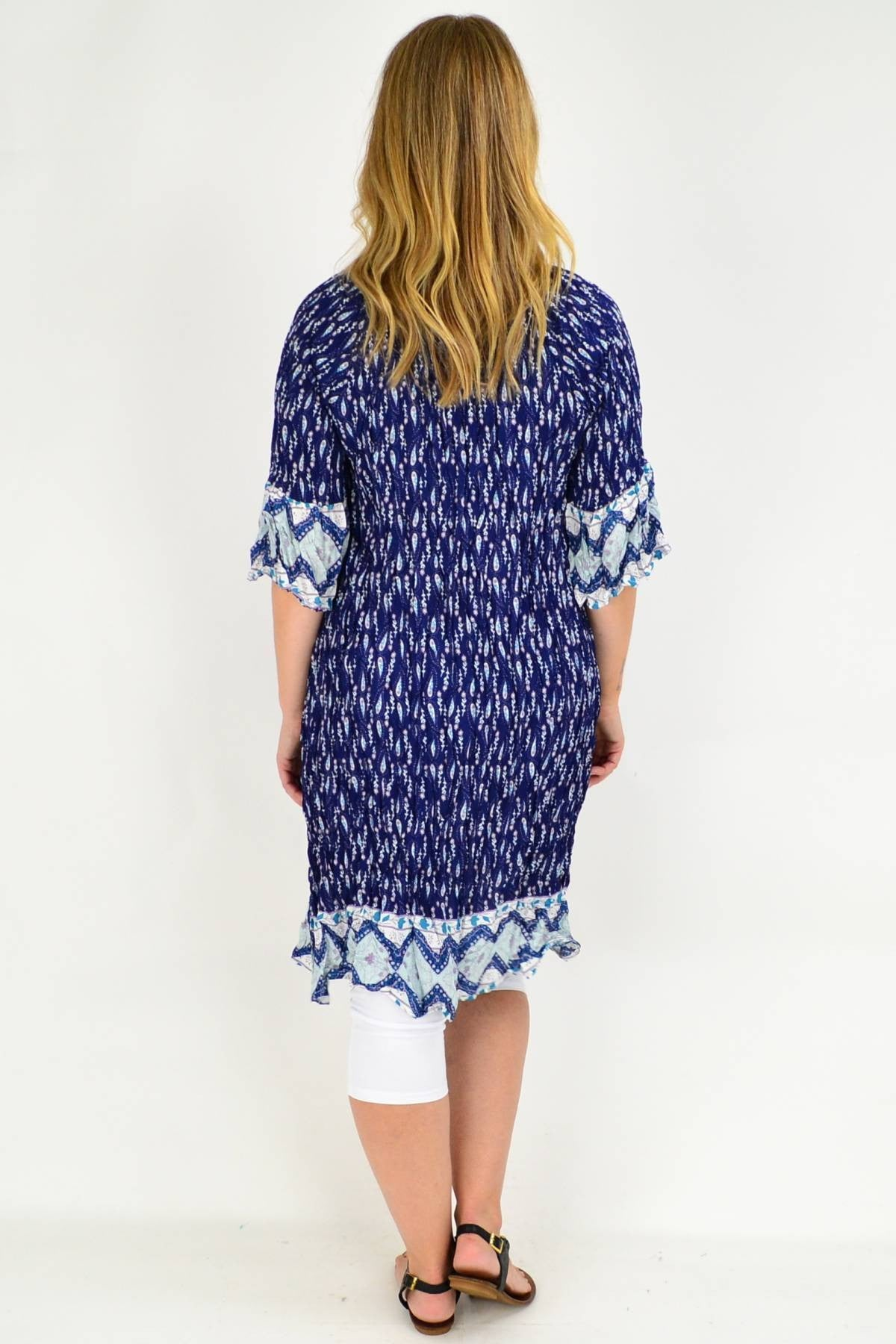 Navy Paisley Flower Crinkle Tie Tunic Dress | I Love Tunics | Tunic Tops | Tunic | Tunic Dresses  | womens clothing online