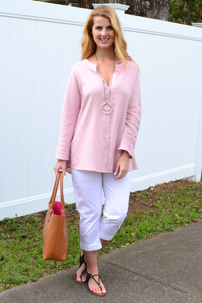 Soft Pink V Neck Linen Shirt