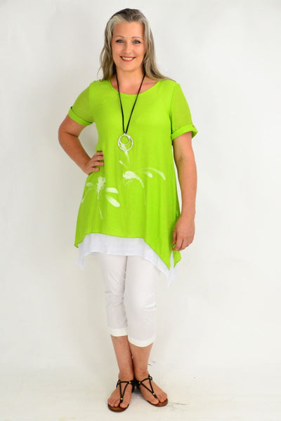 Lime Dragonfly Tunic Top