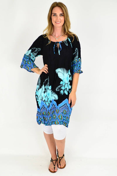 Blue Abstract Floral Crinkle Tie Tunic Dress