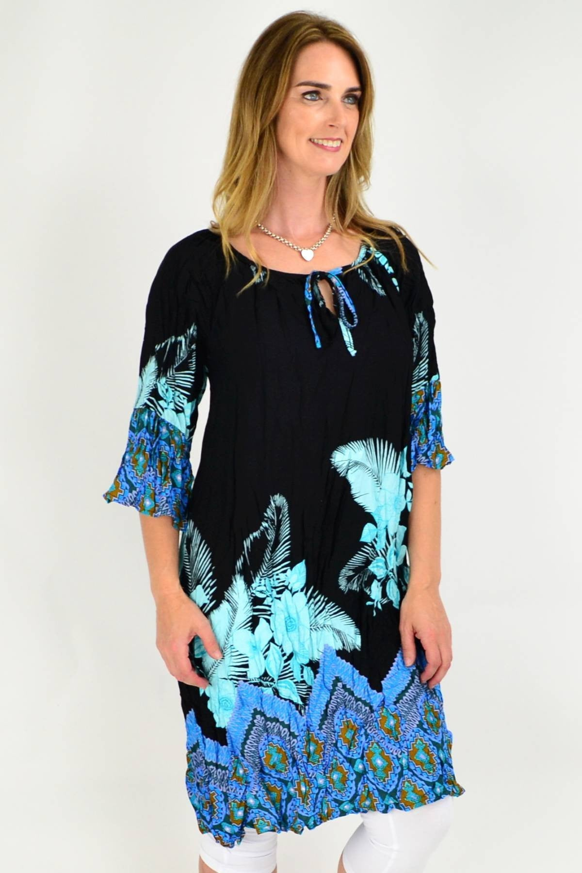 Blue Abstract Floral Crinkle Tie Tunic Dress | I Love Tunics | Tunic Tops | Tunic Dresses | Women's Tops | Plus Size Australia | Mature Fashion