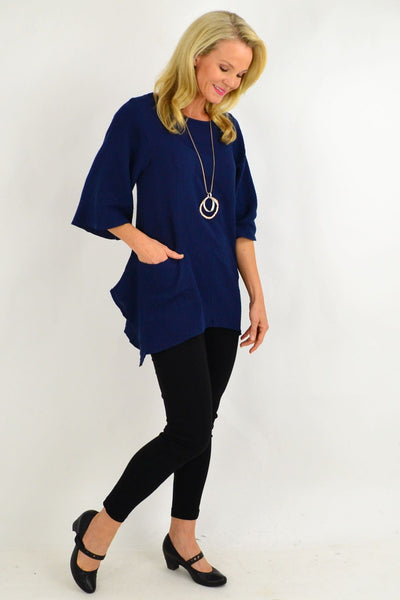 Navy Blue Cotton Pocket Tunic Top