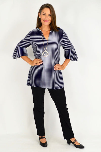 Navy White Stripe Tunic Blouse