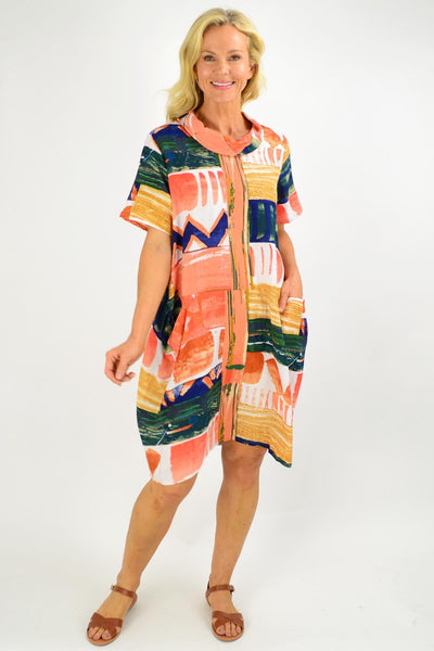 Zaragoza Cowl Neck Bubble Tunic Dress