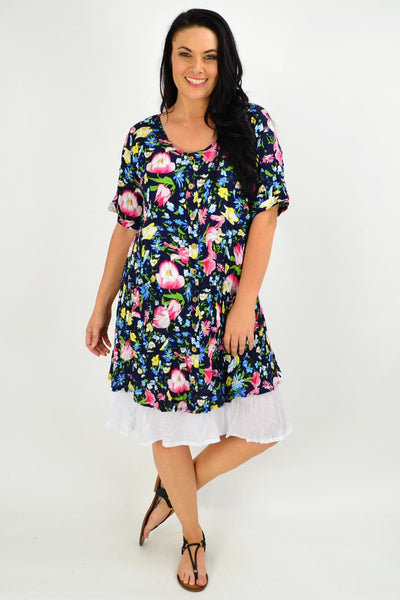 Navy Ellie Floral Crinkle Tunic Dress | I Love Tunics | Tunic Tops | Tunic | Tunic Dresses  | womens clothing online