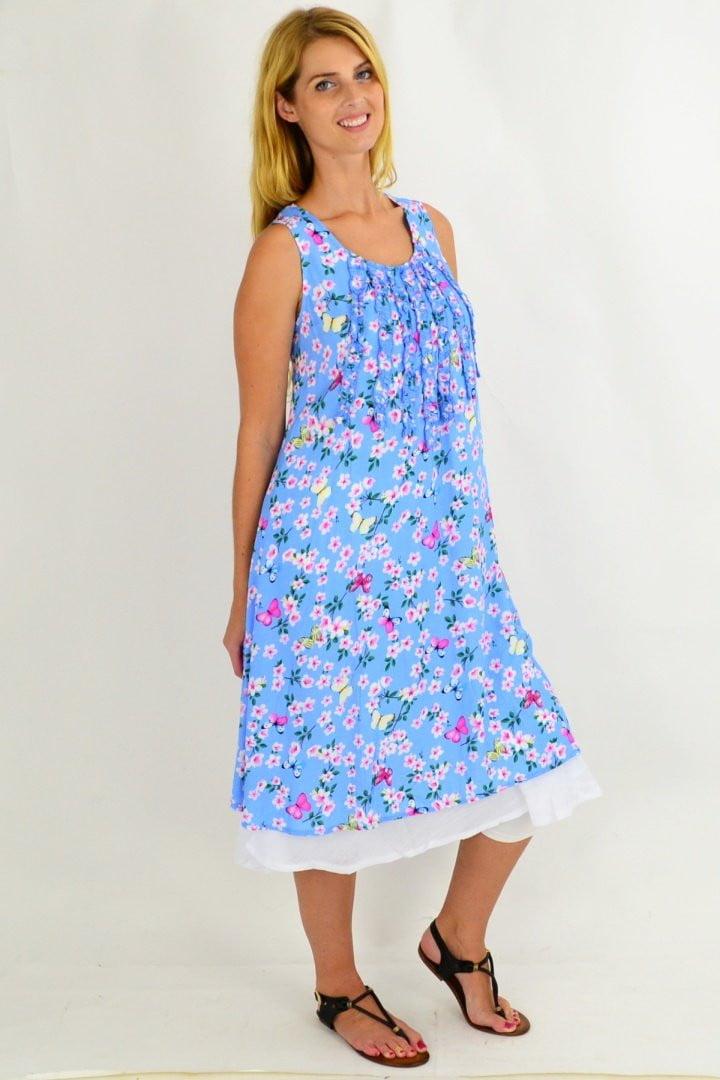 Blue Cherry Blossom Tunic Dress | I Love Tunics | Tunic Tops | Tunic | Tunic Dresses  | womens clothing online