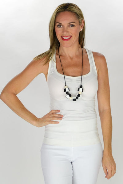 Black White Wooden Beads Necklace