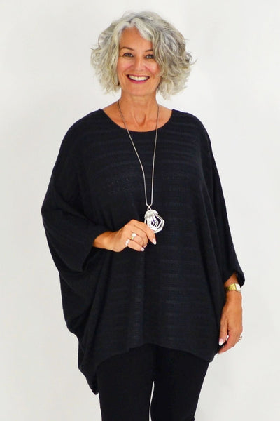 Mandy Black Textured Knit Tunic | I Love Tunics | Tunic Tops | Tunic | Tunic Dresses  | womens clothing online