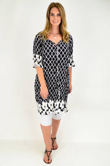 Black & White Diamond Crinkle Tie Tunic Dress | I Love Tunics | Tunic Tops | Tunic Dresses | Women's Tops | Plus Size Australia | Mature Fashion