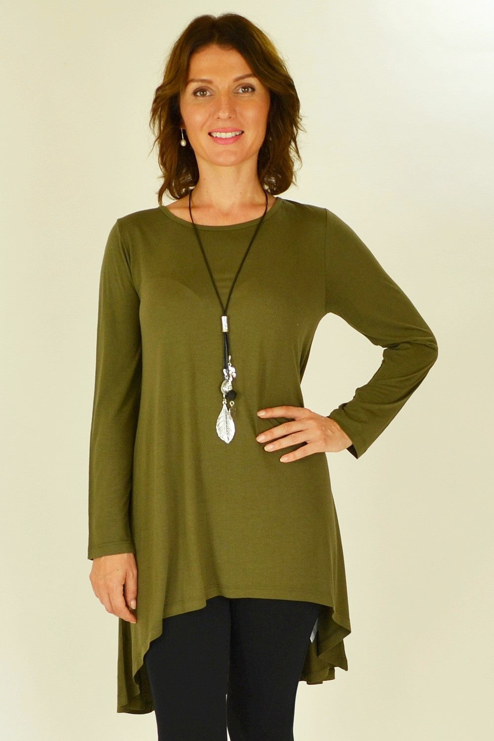 Olive Essential Tunic Top - at I Love Tunics @ www.ilovetunics.com = Number One! Tunics Destination