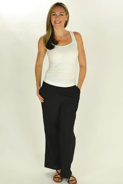 Linen Cotton Black Pants