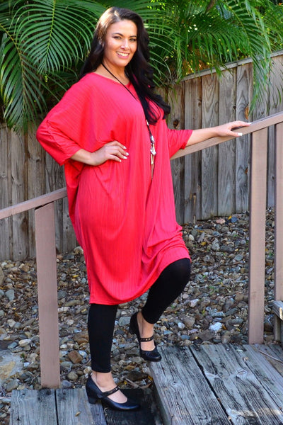 Free Size Red Ribbed Oversized Tunic Dress | I Love Tunics | Tunic Tops | Tunic | Tunic Dresses  | womens clothing online