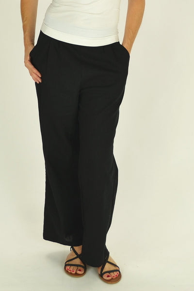 Linen Cotton Black Pants - at I Love Tunics @ www.ilovetunics.com = Number One! Tunics Destination