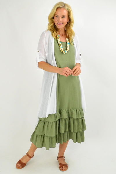 Khaki Ruffle Layer Tunic Maxi Dress | I Love Tunics | Tunic Tops | Tunic | Tunic Dresses  | womens clothing online