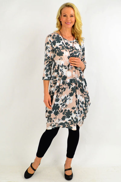 Grey Pink Cocoon Tunic Dress