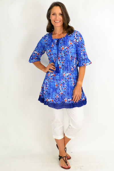 Blue Turkish Tiles Tunic Top