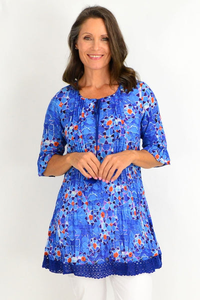 Blue Turkish Tiles Tunic Top | I Love Tunics | Tunic Tops | Tunic Dresses | Women's Tops | Plus Size Australia | Mature Fashion