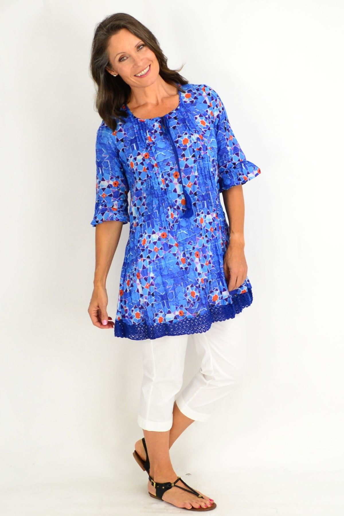 Blue Turkish Tiles Tunic Top | I Love Tunics | Tunic Tops | Tunic | Tunic Dresses  | womens clothing online