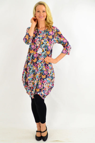 Paisley Cocoon Tunic Dress