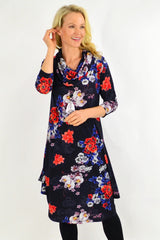 Floral Cowl Neck Tunic Dress by Cordelia St | I Love Tunics | Tunic Tops | Tunic | Tunic Dresses  | womens clothing online