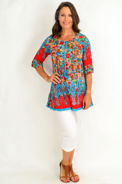 Peach Candy Cotton Tunic Blouse