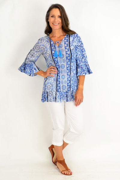 Blue Persian Tiles Tunic Top