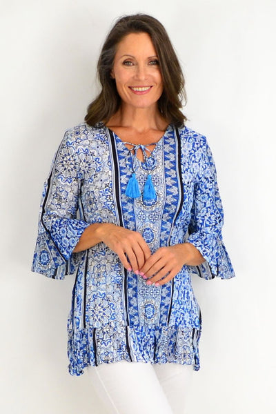 Blue Persian Tiles Tunic Top | I Love Tunics | Tunic Tops | Tunic | Tunic Dresses  | womens clothing online