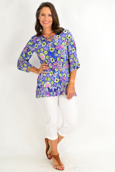 Purple Yellow Print Tunic Top