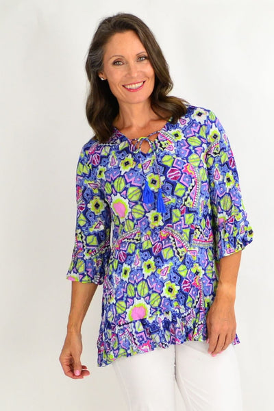 Purple Yellow Print Tunic Top | I Love Tunics | Tunic Tops | Tunic | Tunic Dresses  | womens clothing online