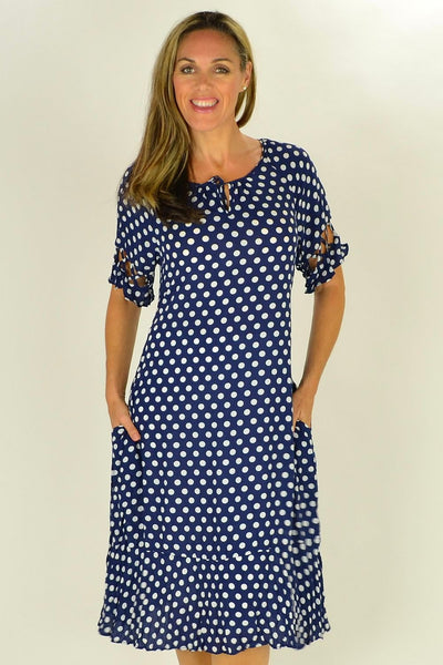 Navy White Spotty Tunic Dress - at I Love Tunics @ www.ilovetunics.com = Number One! Tunics Destination